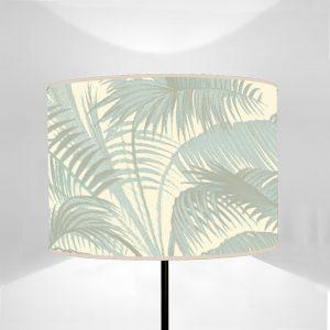 Paralume cilindro stampato su tela disegno Flora Palmato Azzurro