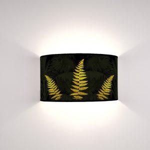 Flora Felci Oro su fondo nero palmato